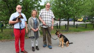 Till vänster står Göran Wennqvist med sin hundvalp i famnen. I mitten står Anna Hielm-Björkman som är docent i veterinärmedicin och till höger Ilkka Hormila. Brevid Ilkka sitter hans hund.