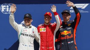 Valtteri Bottas startar snett mellan Sebastian Vettel och Max Verstappen i Kanadas GP.