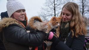 Två kvinnor med var sin katt i famnen. Katterna har vaket och lite skrämd uppsyn.