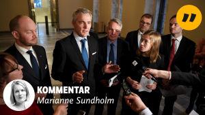 Sampo Terho, Anders Adlercreutz, Li Andersson med flera pratar om klimatet.