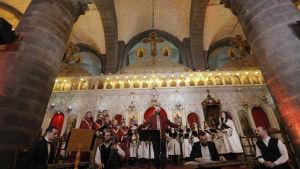 Den libanesiske tenoren Gabriel Abdel sjunger vid ett evenemang i al-Zaytoun kyrkan. Kyrkan är belägen i den till största delen kristna stadsdelen Bab Touma i Damaskus, Syrien.