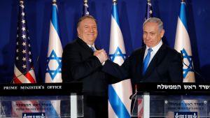 USA:s utrikesminister Mike Pompeo höll en kort gemensam presskonferens med Benjamin Netanyahu efter att Pompeo anlänt till Netanyahus residens i Jerusalem på torsdagen.