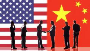 Animerad bild – USA och Kina möts, personer skakar hand.