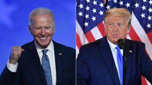 Ett collage på Joe Biden och Donald Trump.