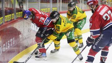 Niklas Nordgren kämpar om pucken.