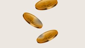 Bild av flera mynt med bitcoinmotiv