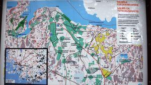Karta över Solböle forskningspark i Bromarv.