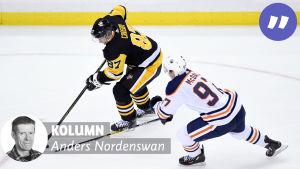 Sidney Crosby jagas av Connor McDavid.
