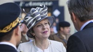 Theresa May deltog den 6 juni 2019 i minneshögtider för landstigningen i Normandie i Frankrike.