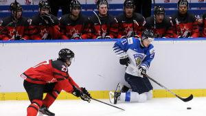Patrik Puistola på knä i en spelsituation framför den kanadensiska bänken.