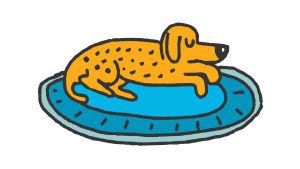 En tecknad hund ligger på en matta.