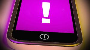 En mobiltelefon med ett varnande utropstecken på skärmen.
