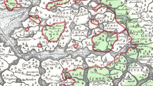 Karta över kusten i Slesvig.