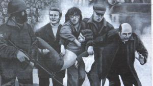Muralmålning till minne av offren i Londonderry.