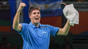 Benedek Oláh jublar efter sin första match i OS.