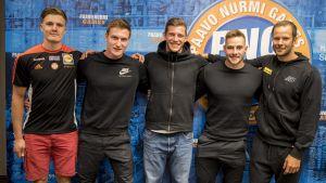 Oliver Helander, Thomas Röhler, Andreas Hofmann, Johannes Vetter och Tero Pitkämäki.