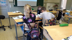 Elever i Påras skola i Kronoby.