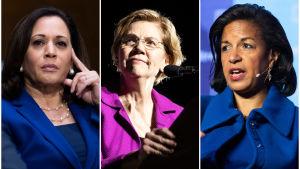 Collage av tre bilder: Kamala Harris, Elizabeth Warren och Susan Rice.
