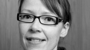Korruptionsexpert Catharina Groop i en svartvit bild.
