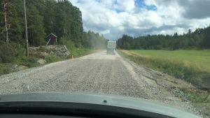 Vägarbeten på Skärgårdsvägen i Korpo.