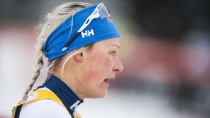 Anne Kyllönen inför ett lopp.