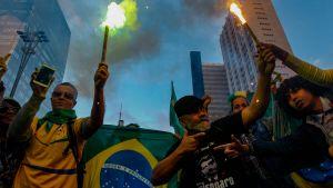 Anhängare till Bolsonaro firar Rio de Janeiro.