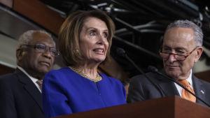 Pelosi och Schumer höll en presskonferens i Kapitolium efter det misslyckade mötet med Trump.