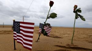 usas flagga gömd i sanden i Omaha Beach