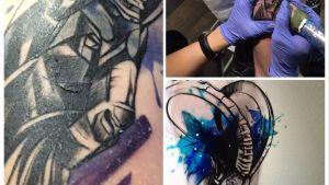 Kauris tatuointi, jota hakataan miehen olkapäähän. Valmis tatuointi ja tietokoneella tehty luonnos.