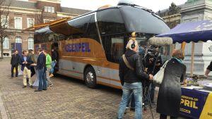 Nej-sidan i den nederländska kampanjen mot EU:s associationsavtal med EU ordnar torgmöte i Haag.