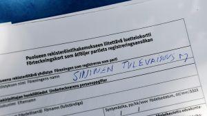 Partiet Blå framtids ansökan om att registrera sig som ett parti.