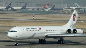 Den nordkoreanska delegationen anlände till Sydkorea i ett vitt ryskt Iljushin-flygplan som landade i Seoul