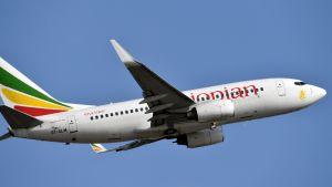 Ethiopian airlines plan av modellen Boeing 737.