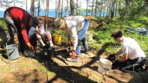 Utgrävningar på tulludden 2019 i Hangö.