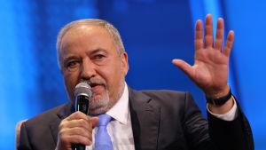 Yisrael Beiteinu- (Israel vårt hem)ledaren Avigdor Lieberman under en konferens i Tel Aviv 5.9.2019.