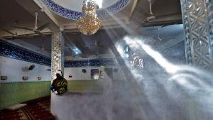 Desinficering av moské i Najaf 3.3.2020