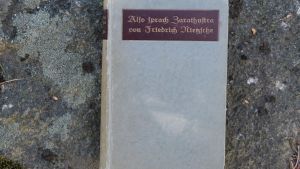 Gammalt ex av Nietzsches Also Sprach Zarathustra, fotat mot stenbakrund. Gråa färger