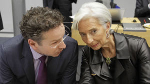 Eurogruppens ordförande Jeroen Dijsselbloem och IMF:s chef Christine Lagarde