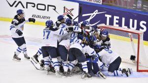 Finlands spelare firar seger, VM-bronsmatch 2015.
