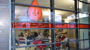 En stor bloddroppe i fönstret vid Blodtjänst i Stenhagen i Helsingfors.