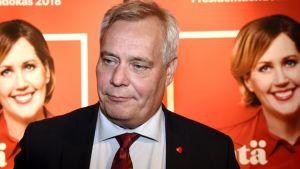 Antti Rinne på SDP:s valvaka.