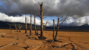 Theewaterskloofdam i Sydafrika som har torkat ut