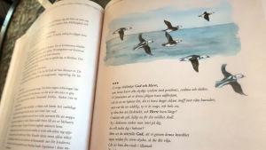 En bild ur en bok med Alfåglar i flykt och en bön.