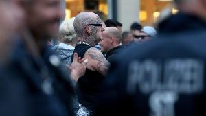 Ytterhögerprotester i Köthen i Tyskland 10.09.2018.