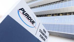 Bild av fasaden till Purdue Pharmas huvudkontor i Stamford, Connecticut.