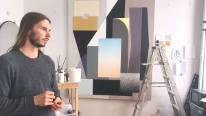 Tony Rubin i sin ateljé