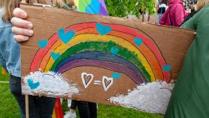 En regnbåge och hjärtan målade på en pappersskiva.