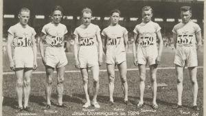 Finlands deltagare på 3000 meter i OS i Paris 1924: Frej Liewendahl, Ville Ritola, Paavo Nurmi, Elias Katz, Eino Seppälä och Sameli Tala.