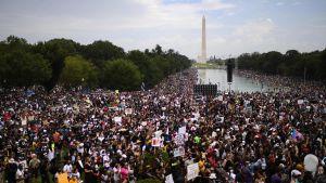 Tusentals demonstranter samlades runt Lincolnmonumentet i Wasington D.C för att protestera mot polisvåld.