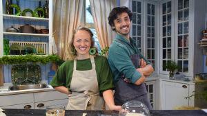 Elien och Julien Huéber i Strömsös kök.
